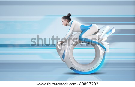Attractive future bike rider - Future collection - stock photo