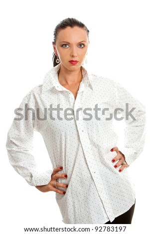 Attractive girl in white shirt against white background