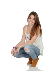 Attractive girl isolated on a over white background