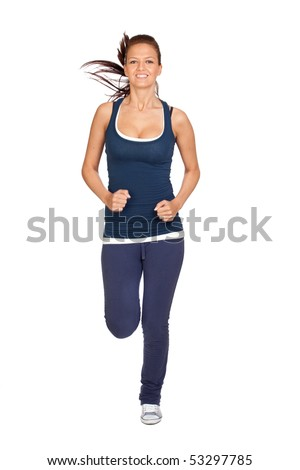 Attractive girl running isolated on white background