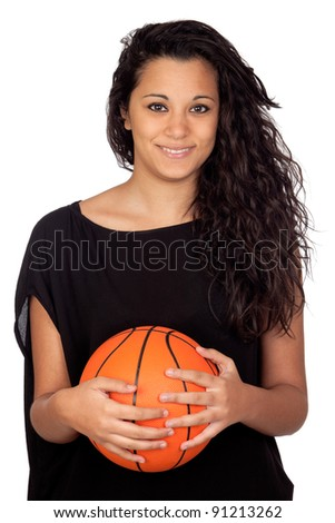 Attractive girl with a basketball isolated on white background