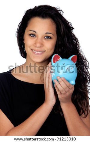 Attractive girl with a blue piggy-bank isolated on white background