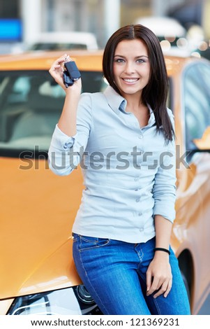 Attractive girl with car keys
