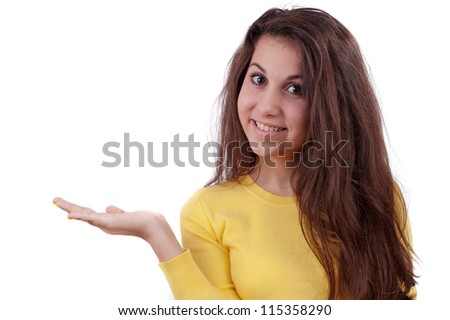 Attractive girl with hand on white background