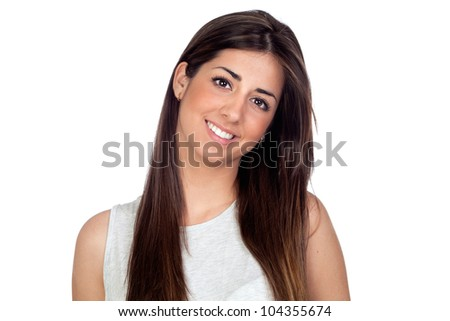 Attractive girl with long hair isolated on white background