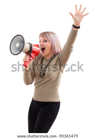 Attractive girl with megaphone. Isolated on white - stock photo