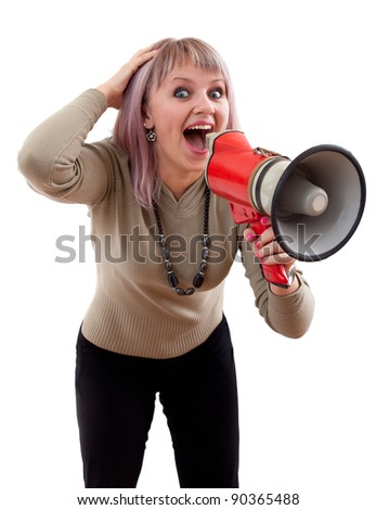 Attractive girl with megaphone. Isolated on white