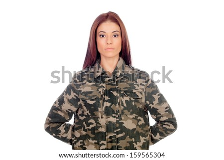 Attractive girl with military style jacket isolated on a white background