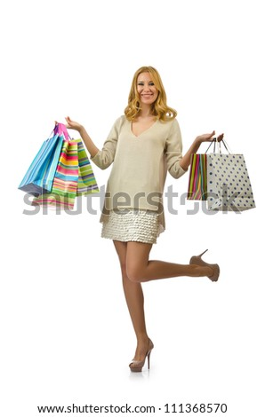 Attractive girl with shopping bags - stock photo
