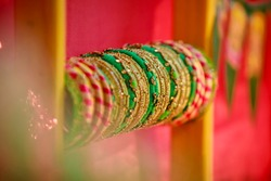 Attractive Golden Glass Bangles in Indian Traditional Day Decoration Bracelets