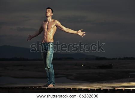 Attractive guy posing
