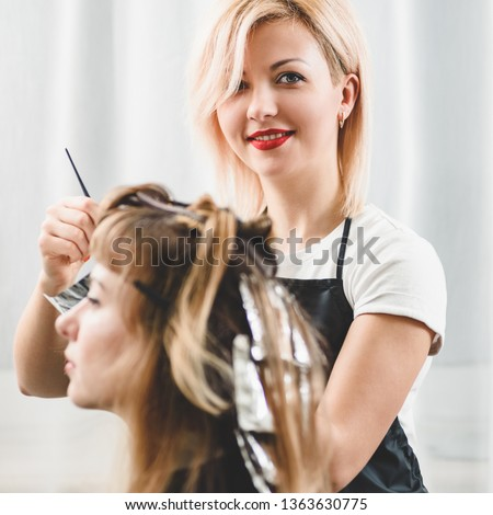 Attractive hairdresser dyeing hair of female client while she sitting in chair