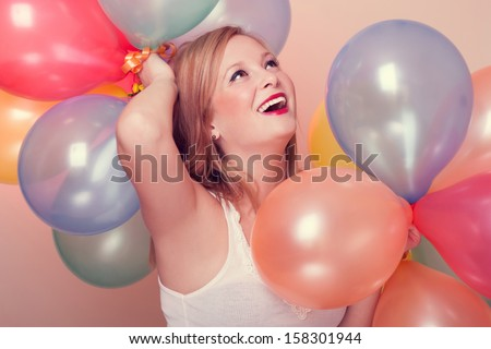 Attractive Happy Young Woman with Birthday Balloons  #158301944