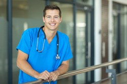 attractive healthcare worker looking at the camera