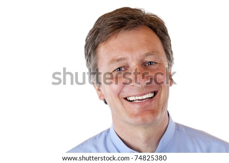 attractive, healthy, vital, aged man smiles happy at camera. Isolated on white background.