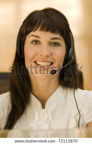 attractive helpdesk woman talking to customers
