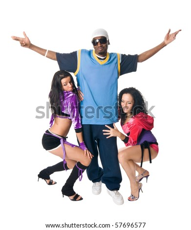 Attractive hip-hop male with two go-go dancers near him