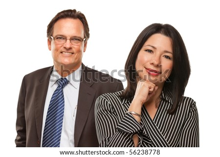 Attractive Hispanic Woman with Businessman Smiling in Suit and Tie Isolated on a White Background.