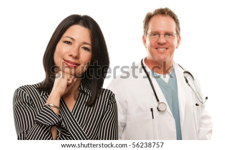Attractive Hispanic Woman with Male Doctor or Nurse Isolated on a White Background.