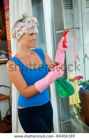 attractive housewife cleaning window at her home