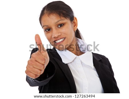 Attractive indian businesswoman showing thumbs up. All on white background.