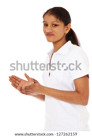 Attractive indian girl clapping hands. All on white background ...
