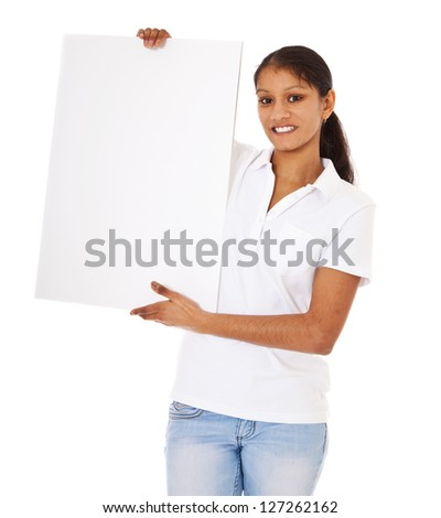 indian girl holding blank white sign. All on white background ...