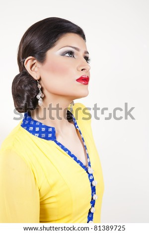 Attractive Indian girl with beautiful long hair, female fashion model ...