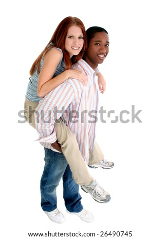 Attractive interracial couple enjoying each others company.