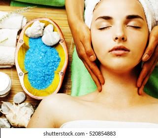 stock photo attractive lady getting spa treatment in salon