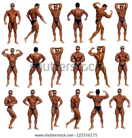Attractive male body builder, demonstrating contest 18 pose, isolated on white background