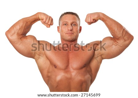 attractive male body builder demonstrating contest 18 pose