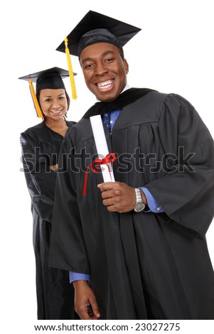 Attractive man and woman african american graduates