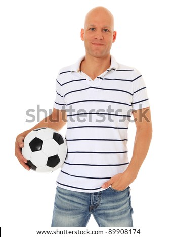 Attractive man holding soccer ball. All on white background.
