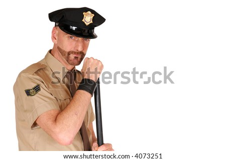 Attractive, mid fifties bearded police officer wearing kepi holding stick, Law,  security, protection concept