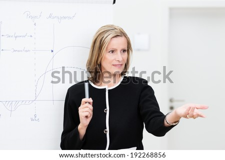 Attractive middle-aged businesswoman giving a presentation or in house training session gesturing with her hand to invite questions from the audience