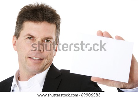 Attractive middle-aged man holding blank white card. All on white background.