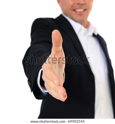 Attractive middle-aged man making handshake. All on white background.