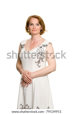 Attractive middle aged woman in a summer dress.