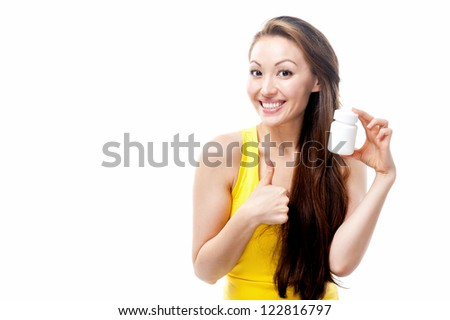 Attractive Mixed Asian female holding a white supplement bottle with thumbs up
