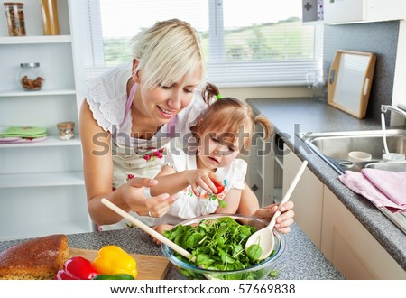 Attractive mother and child cooking in the kitchen