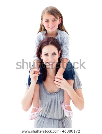 Attractive mother giving her daughter piggyback ride against a white background