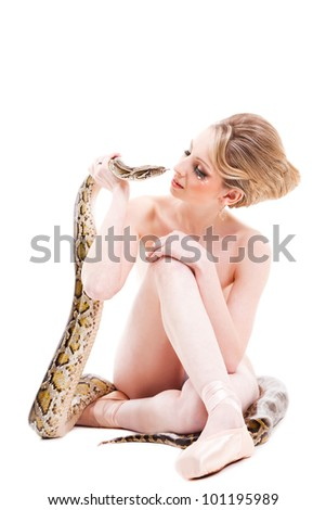 Attractive Nude Ballerina With Python On Isolated White Background