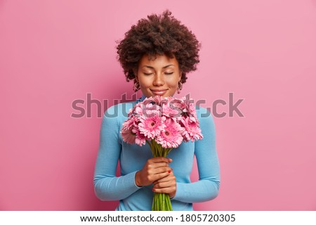 Attractive pleased dark skinned model receives flowers as present, stands with closed eyes, enjoys her favorite gerberas, isolated on pink background. Romantic portrait. Woman gets gift from husband