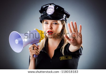 Attractive police office in dark room