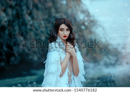 Attractive pretty sad woman white cape  silver feathers. snow queen. Portrait  luxury brunette, hairstyle retro style cold wave. Black blue eyes red lips evening makeup. Creative design gown blue fog