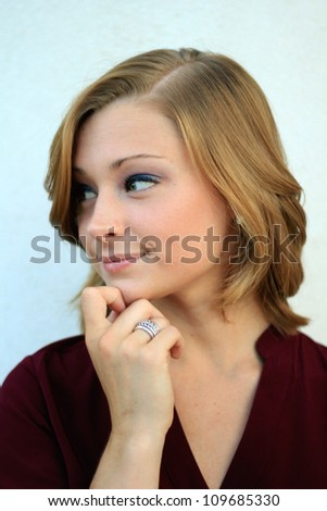 Attractive Professional Business Woman Thinking and Planning