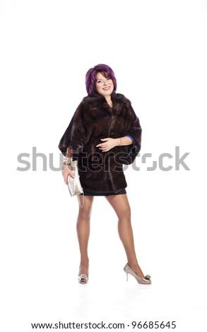 ... fur coat - plus size large size xxl - studio shot on white background