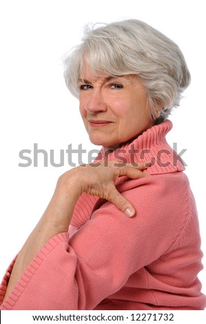 Attractive Senior citizen touching shoulder isolated over a white background
