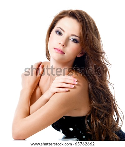 attractive sexy girl with brown long hairs - Isolated on white
